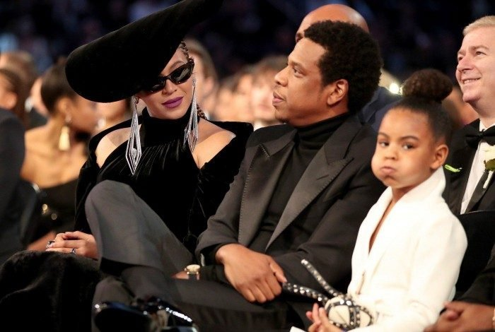 NEW YORK, NY - JANUARY 28: (L-R) Beyonce, Jay-Z and Blue Ivy Carter attends the 60th Annual GRAMMY Awards at Madison Square Garden on January 28, 2018 in New York City.   Christopher Polk/Getty Images for NARAS/AFP