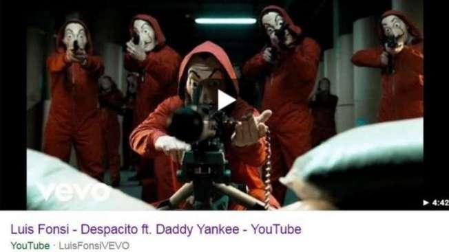 Personagens mascarados e apontando armas no lugar de 'Despacito'