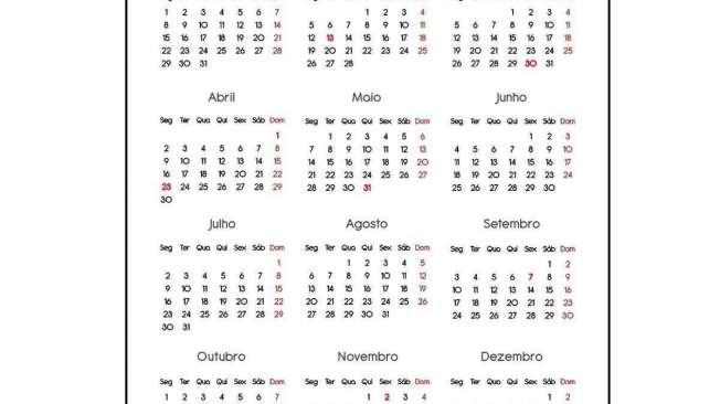 calend�rio 2018