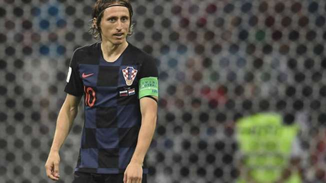 Croatia's midfielder Luka Modric reacts during the Russia 2018 World Cup quarter-final football match between Russia and Croatia at the Fisht Stadium in Sochi on July 7, 2018. / AFP PHOTO / Kirill KUDRYAVTSEV / RESTRICTED TO EDITORIAL USE - NO MOBILE PUSH ALERTS/DOWNLOADS