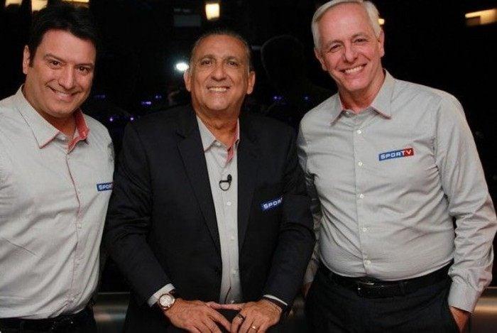 Luiz Carlos Jr. e Milton Leite, do SporTV, ao lado de Galvão Bueno, da Globo