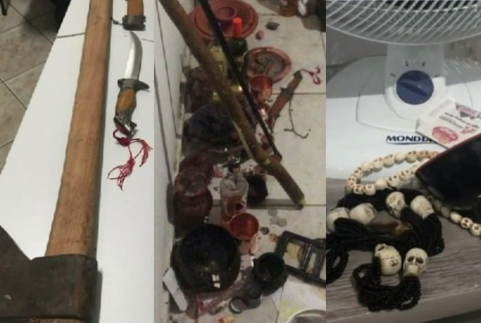 Machado, caveiras e objetos foram apreendidos na casa do casal