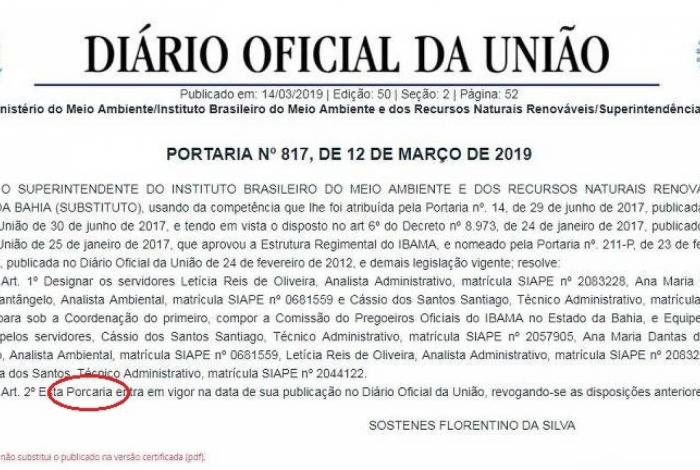 Diário Oficial publicou erro curioso