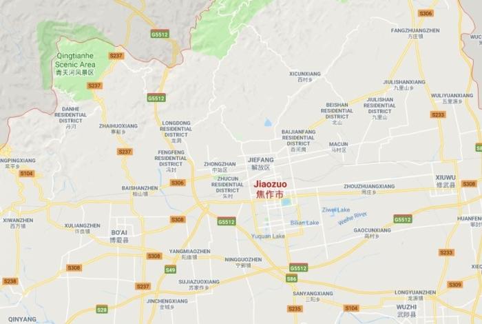 A cidade de Jiaozuo fica na região central da China