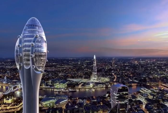 A ilustração mostra como o 'edifício-esperma' ficará na paisagem londrina em 2025