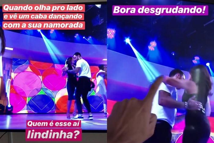 Túlio Gadelha fica enciumado ao ver Fátima Bernardes dançando com outro no 'Encontro'