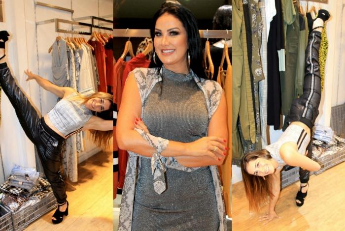 Helen Ganzarolli e Daniele Hypólito participam de evento de moda em SP