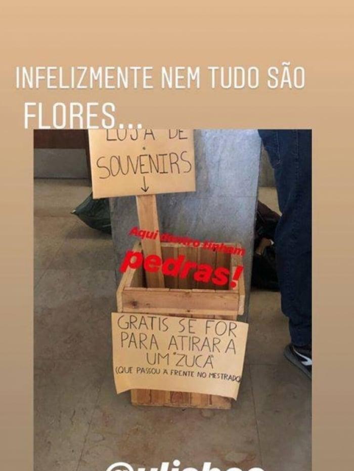 Cesta com pedras foi oferecida para atacar 'zucas', como os brasileiros são chamados