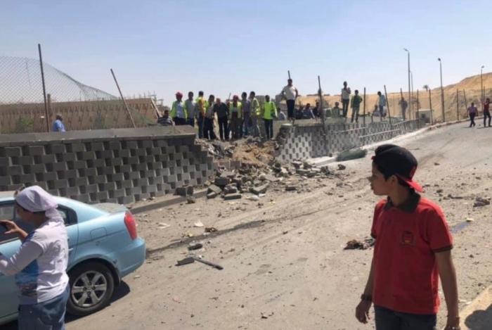 Destroços da explosão do ônibus
