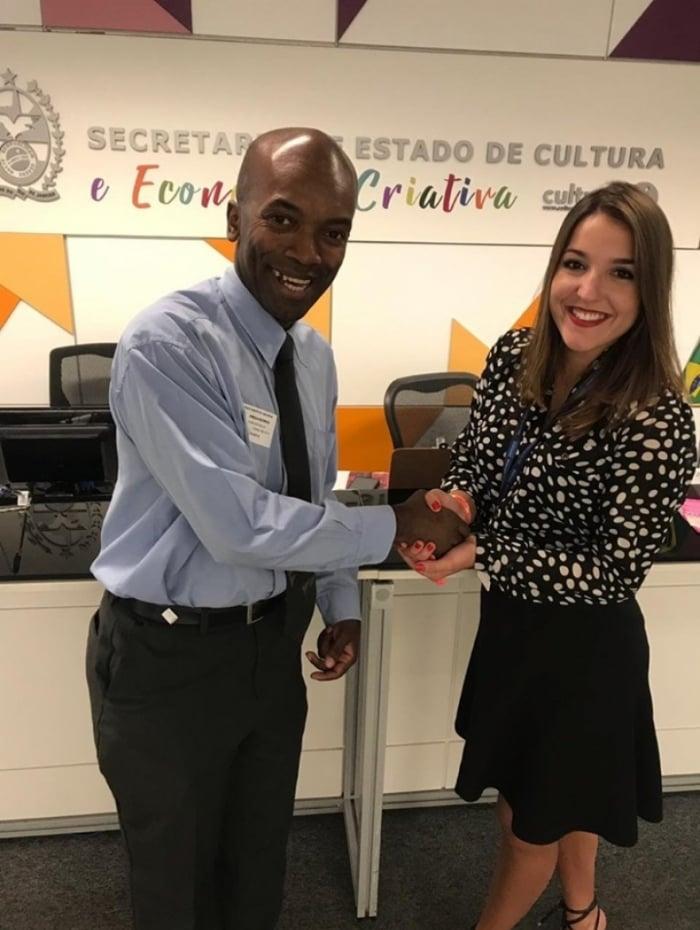 Edmilson com Tali Miguel, assessora-chefe de RI da Secretaria de Cultura