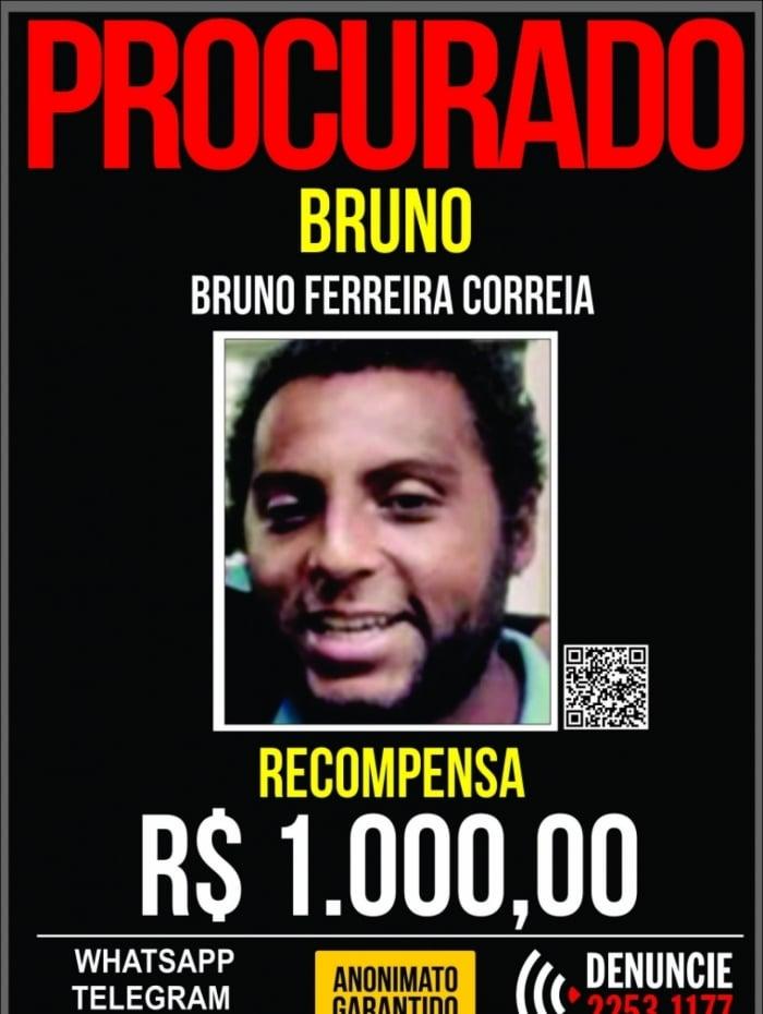 Portal dos Procurados pede informações para encontrar Bruno Ferreira Correia, principal suspeito de matar estudante da Uerj