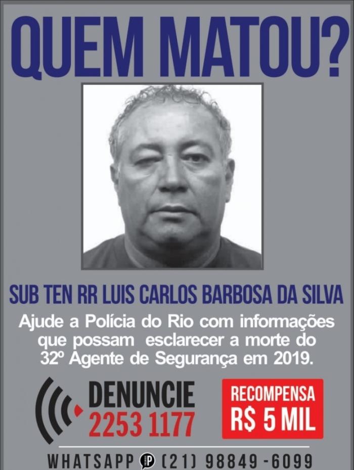 O subtenente Luís Carlos Barbosa da Silva foi morto na porta de casa, em Caxias