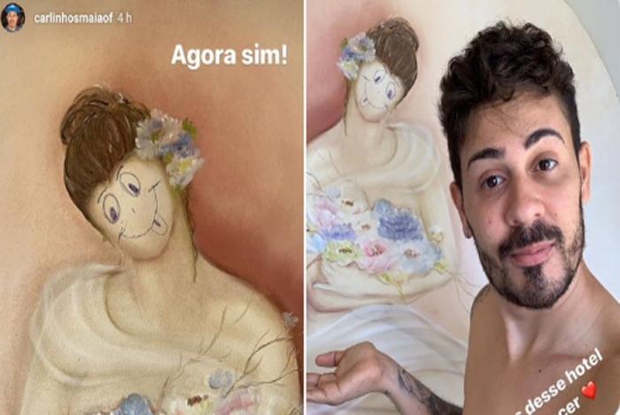 Carlinhos Maia rabisca obra de arte em hotel e é criticado na Web