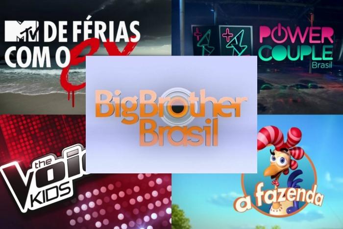 Ranking dos Realities: 1º - BBB, 2º - Power Couple Brasil, 3º - A Fazenda, 4º - The Voice Kids, 5º - De Férias com o Ex