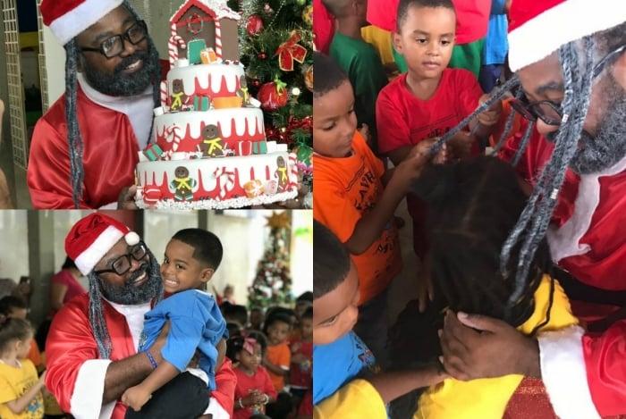 Ex-BBBs Rodrigo França e Danrley animam Natal da Favela Mundo, na Cidade de Deus