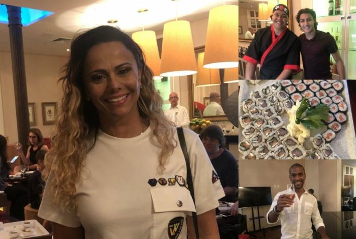 Viviane Araújo vai a inauguração de Sushi Lounge
