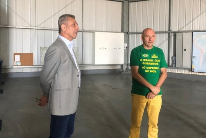 Alexandre Campello e Luciano Hang se reuniram na sede da Havan, em Brusque, Santa Catarina