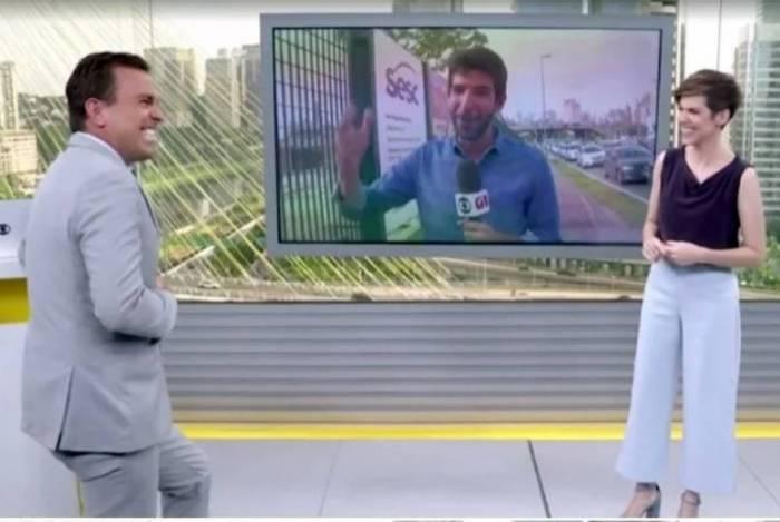 Rodrigo Bocardi e Glória Vanique se divertem no 'Bom Dia SP'