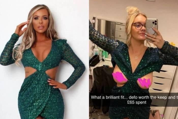 Courtney comprou o vestido pela internet, mas ficou decepcionada ao experimentá-lo