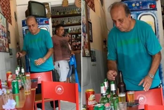 Pezão foi fotografado no bar Rei do Torresmo, em Piraí