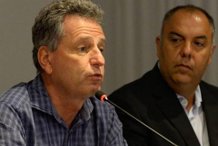Presidente Rodolfo Landim ao lado de Marcos Braz: comando do futebol rubro-negro