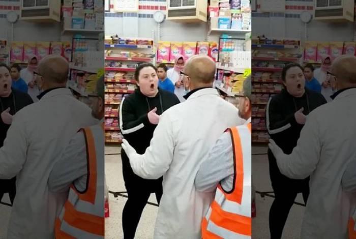 Mulher agride funcionários de supermercado que estariam 'caminhando muito perto'