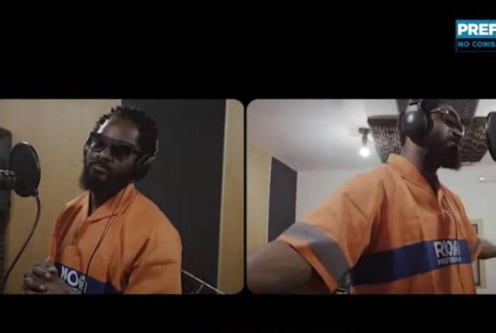 Nego Zú na gravação do rap que busca conscientizar idosos