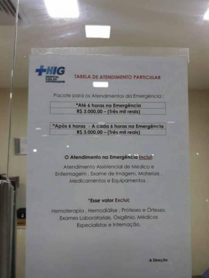 Consulta de emergência no Hospital Ilha do Governador custa R$ 3 mil
