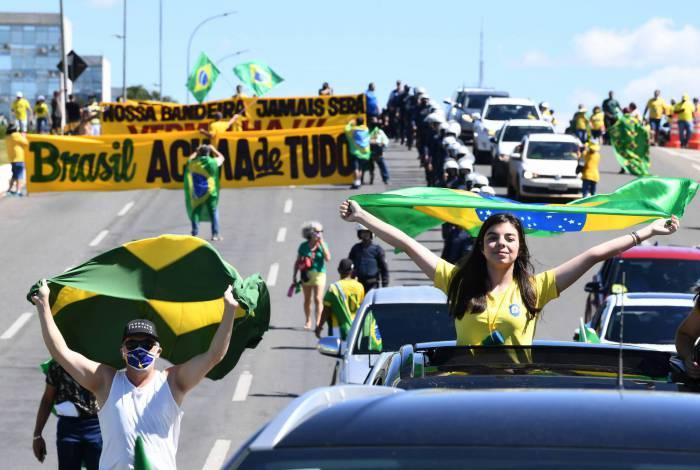 Bolsonaristas em manifestação em Brasília