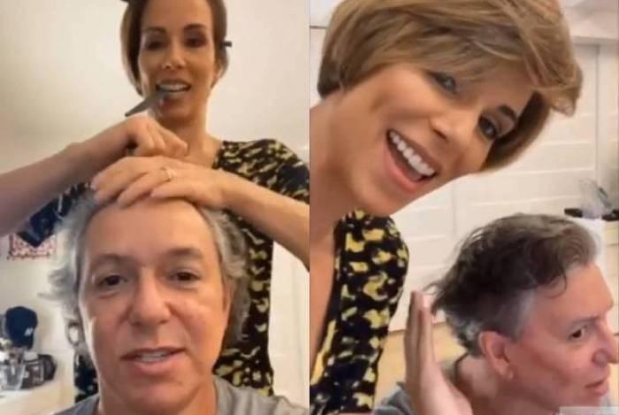 Ana Furtado corta os cabelos de Boninho