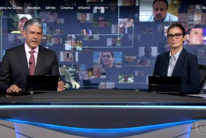 'Jornal Nacional' exibe rostos das vítimas de covid-19 em telão