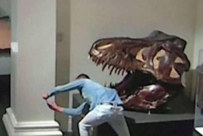 Jovem invade museu para tirar selfie com dinossauros, veja vídeo
