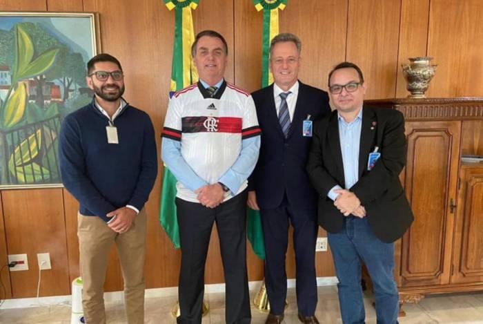 Márcio Tannure, Jair Bolsonaro, Rodolfo Landim e Alexsander Santos se reúnem em Brasília ? Foto: Divulgação