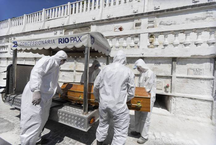 Enterro de uma das vítimas do coronavírus no Rio de Janeiro