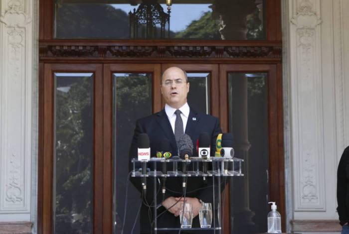 Wilson Witzel em pronunciamento no Palácio das Laranjeiras