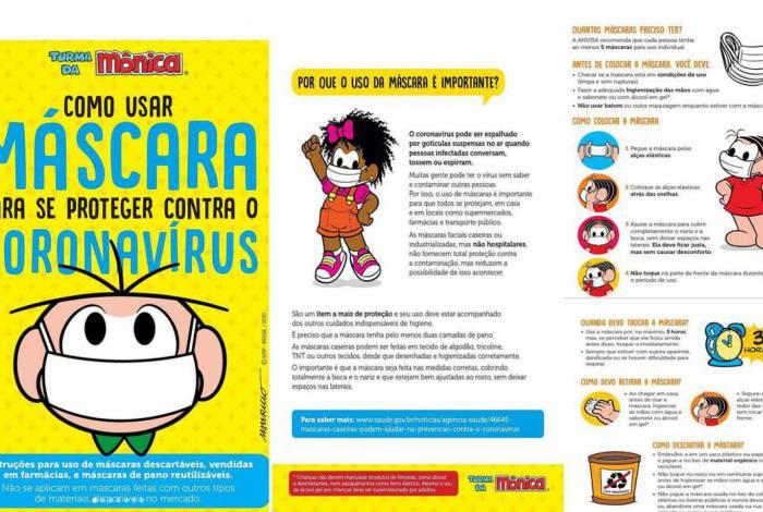 Cartilha da Turma da Mônica traz informações sobre o uso de máscaras