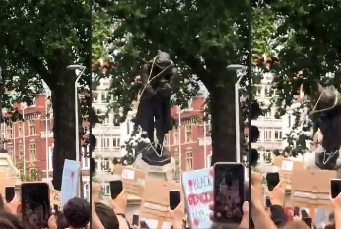 Estátua de traficante de escravos é derrubada na Inglaterra