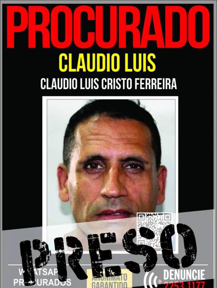 Claudio Luis foi capturado na Gávea, na Zona Sul do Rio