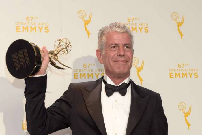 (FILES) In this file photo taken on September 12, 2015 Chef Anthony Bourdain, winner of the award for outstanding informational series or special for