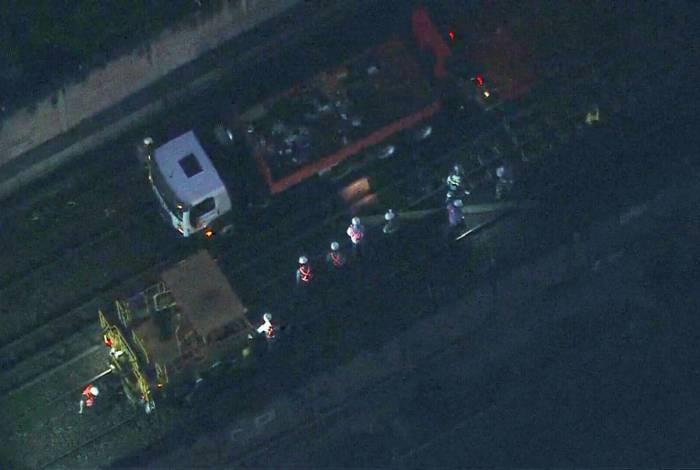 Veículo de manutenção descarrilou na madrugada desta quarta-feira