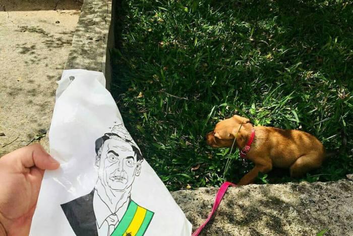 Marca cria saco para coletar cocô de cachorro com a rosto de Bolsonaro