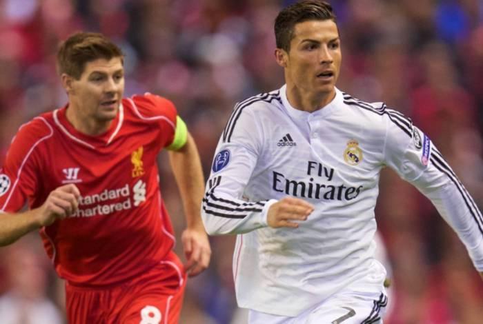 Gerrard ao lado de Cristiano Ronaldo