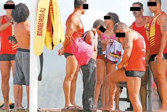 Flagrante: salva-vidas sem máscara no posto do Pontal, no Recreio