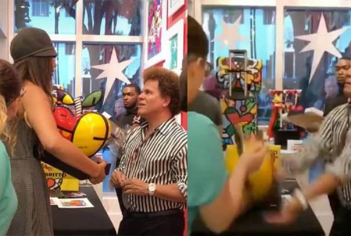 Romero Britto vê sua obra ser quebrada na galeria