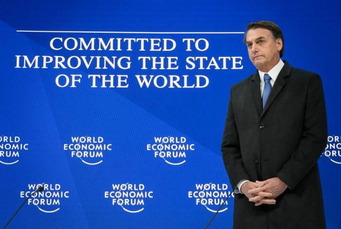 Jair Bolsonaro em Davos, no Fórum Econômico Mundial, em 2019