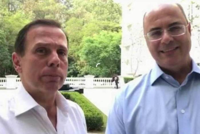 João Doria, governador de São Paulo, e Wilson Witzel, governador afastado do Rio de Janeiro