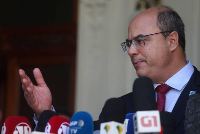 Witzel em pronunciamento após ser afastado do cargo. Um dia após afastamento por envolvimento em esquema de corrupção, segundo MPF, ele passou mal