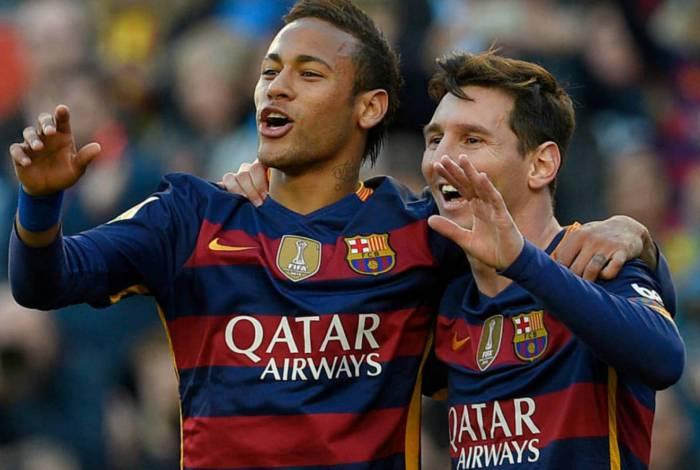 Neymar e Messi em ação pelo Barcelona