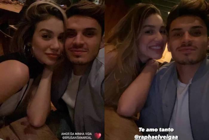 Bruna Santana tem jantar romântico com Raphael Veiga
