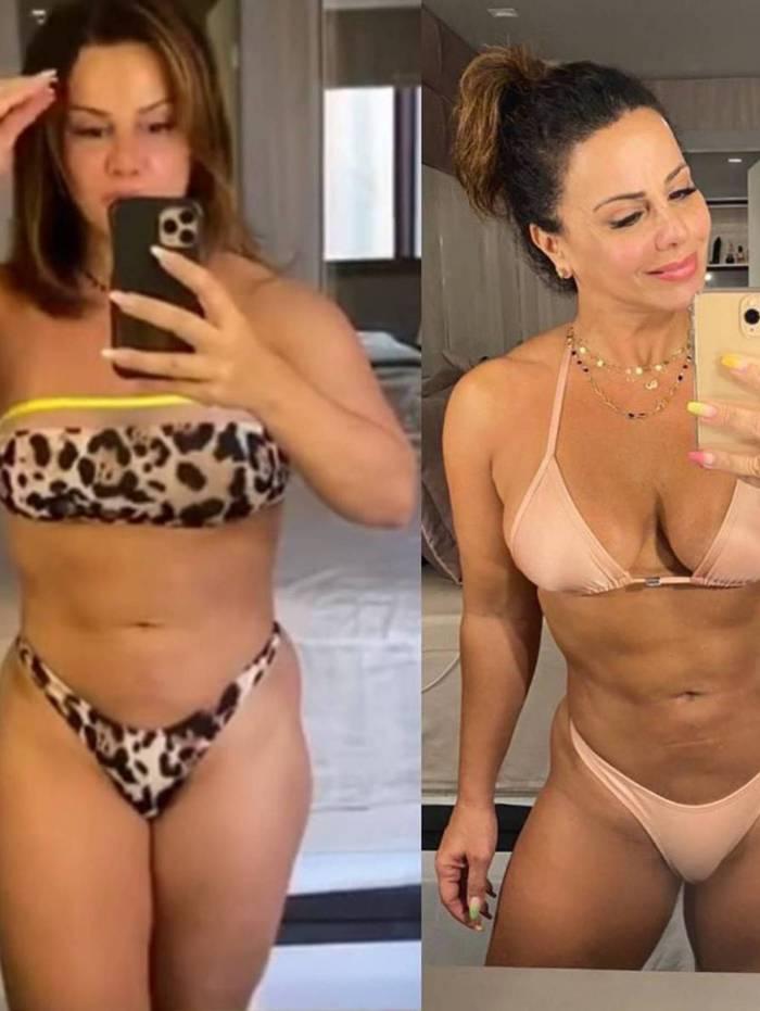 Viviane Araújo mostra antes e depois